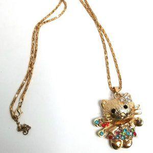 Goldtone Cat Necklace w/Rhinestones